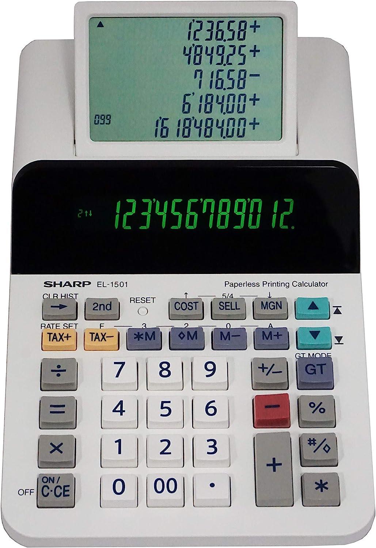 Sharp El-1501 Compact Cordless Paperless Large 12-Digit Display Desktop Printing Calculator That Utilizes Printing Calculator Logic (Renewed)