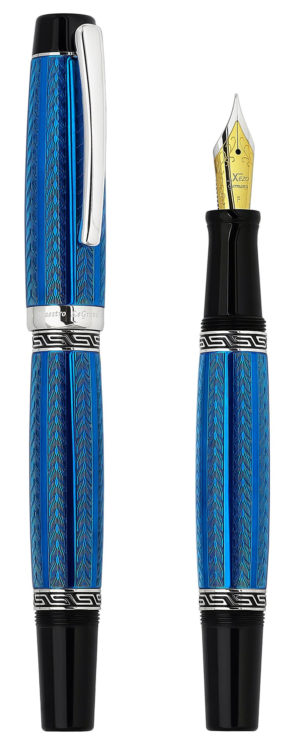Xezo Maestro LeGrand Diamond Cut, Lacquered, Platinum Plated Fine Point Fountain Pen in Tanzanite Color
