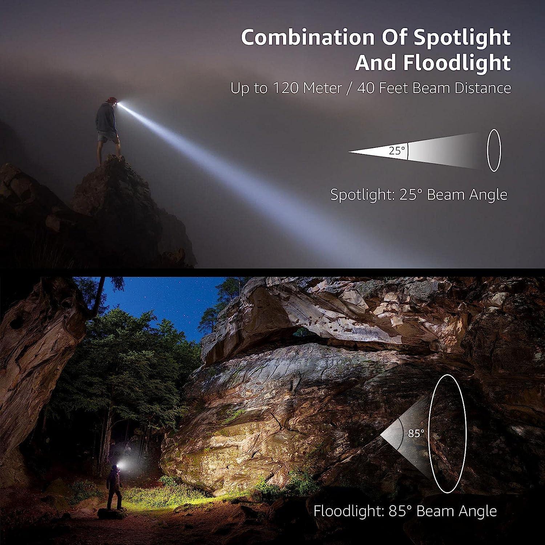 LUXJUMPER LED Lampe Frontale Rechargeable USB 1500 Lumens Torche Frontale avec Detecteur de Mouvement /Étanche Antichoc Lumi/ère 7 Modes pour Camping Randonn/ée P/édestre