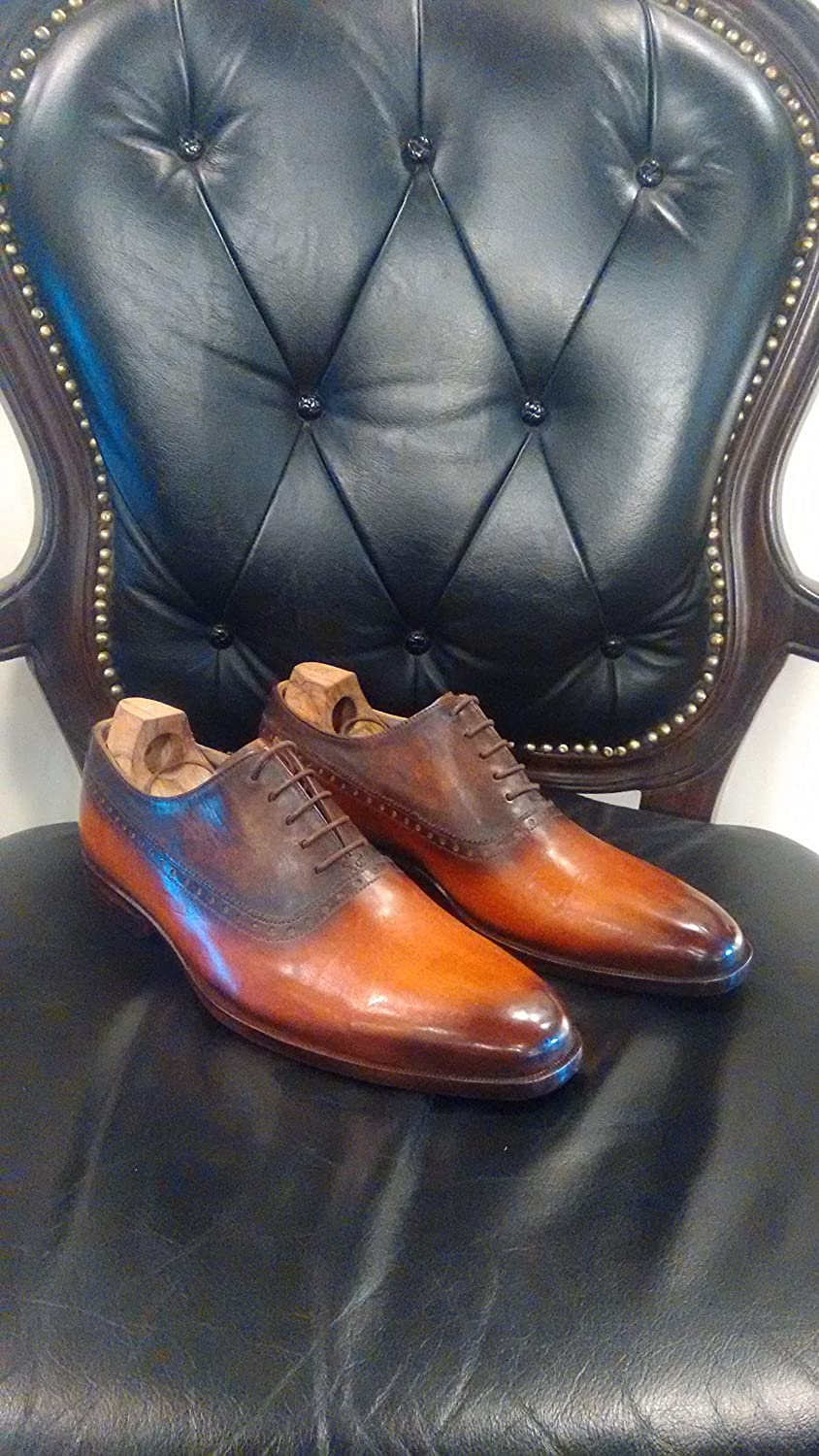 Handmade Leather Patina Two Tone Cognac Oxfords for Men Custom made men shoes