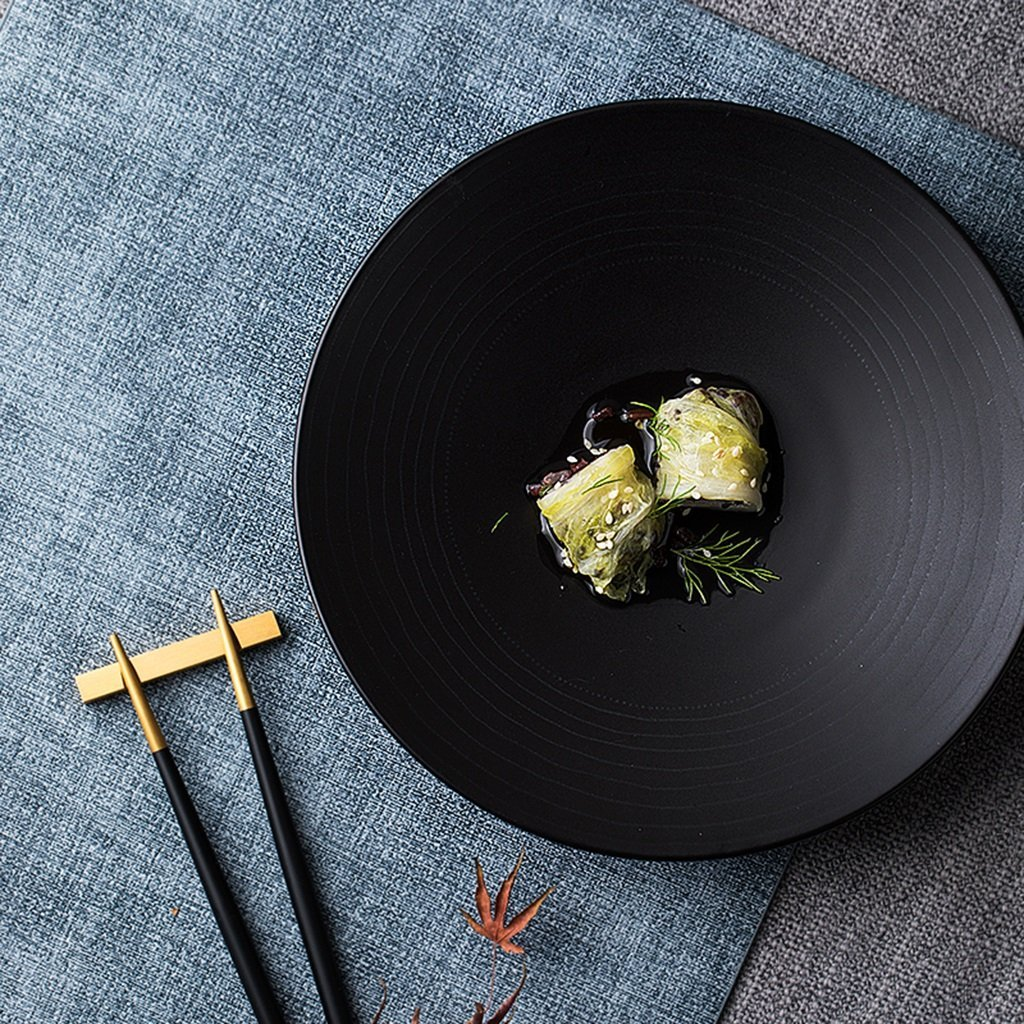 He Xiang Ya Shop Round plate cutlery black ceramic flat dish deep dish fruit salad plate steak plate home 21.3 cm (8 inches) by He Xiang Ya Shop (Image #2)