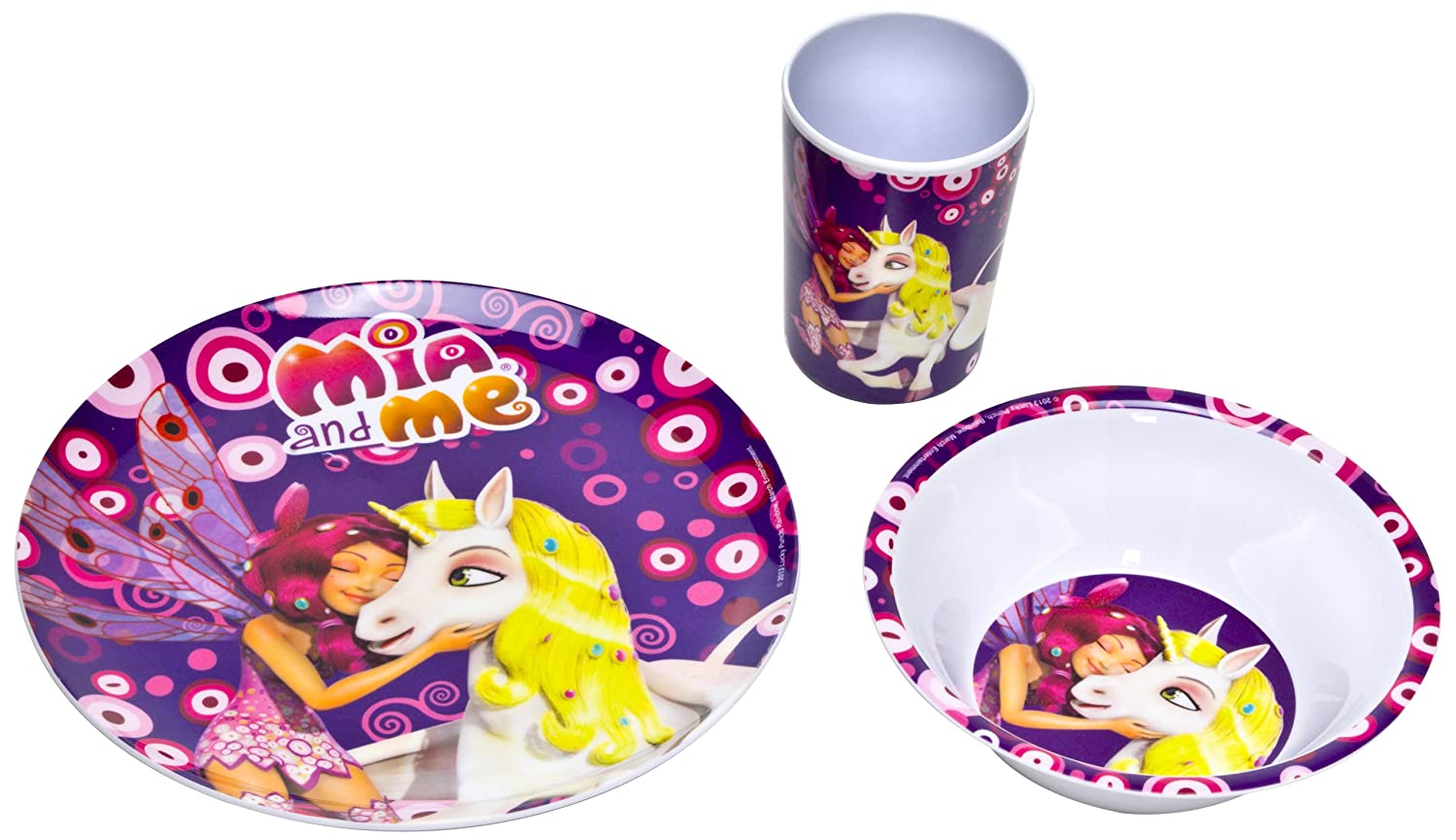 Mia and me - Melamine Dinnerware Set Breakfast (3 pcs) Plate Cup Bowl JoyToy 118062