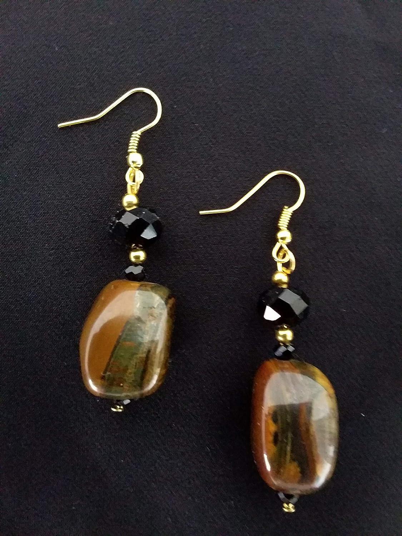 PENDIENTES: piedras semipreciosas - colgantes largos - marrón, negro, dorado - ojo de tigre, cristales - idea de regalo para mujer - hecho a mano