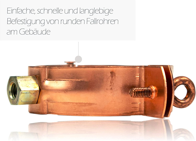 Fallrohrschelle Kupfer 120 mm mit M8//M10 Gewindeanschluss Rohrschelle f/ür Kupfer Regenrohre DN 120 Schraubrohrschelle zur Befestigung von Fallrohren am Geb/äude