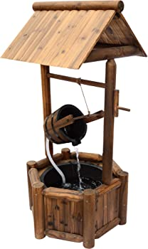 Rustic-Style Wishing Well Fountain
