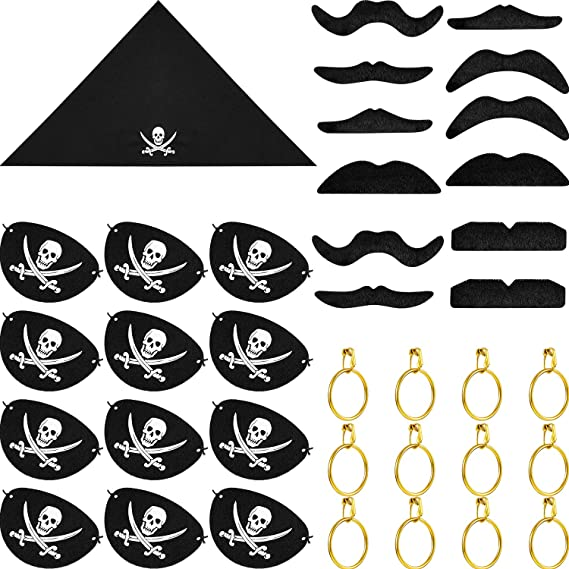 Piraten Set Satz Augenklappe Kopftuch Ohrring Schnurrbart Kostüm