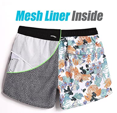 53fc0280ce MaaMgic Mens Swimming Shorts 4 Way Stretch Quick Dry Swim Trunks Vantage  Bathing Suits with Mesh Lined ...