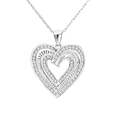 0fc8b18c9 NATALIA DRAKE White Gold Rhodium Plated Sterling Silver Diamond Heart  Necklace Pendant (0.50ctw Heart