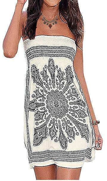b10a88c6497c6 Initial Inital Women's Strapless Dress Floral Print Bohemian Beach Dress  Bikini Cover-up Dress X