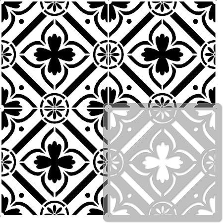ROMEIRA Pochoir en PLASTIQUE réutilisable pour tuiles //// Géométrique Marocain