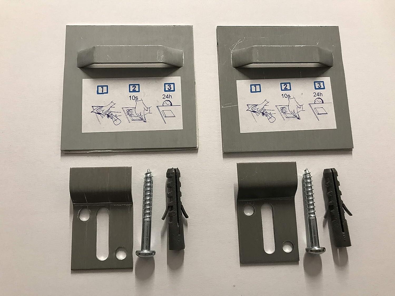 Set mit je 2x Bild-Halter mit Ö se 70x70mm & Z-Haken selbstklebend Abstandshalter Glas Schild Bilder PVC Edelstahl Schild Acrylglas Wandbreite