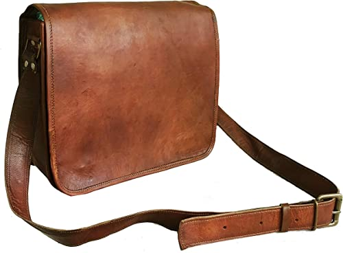 Leather Full Flap Messenger Bag  Leather Laptop Bag  Hand Made Leather Bag for Unisex  15x11x4 Brown Leather Bag