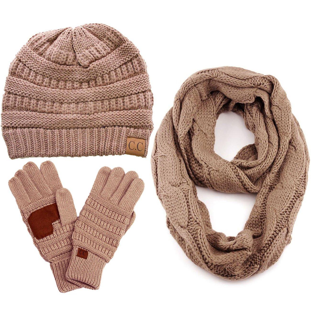 ScarvesMe CC 3pc Set Trendy Warm Chunky Soft Stretch Cable Knit Beanie Scarves Gloves Set (Taupe)