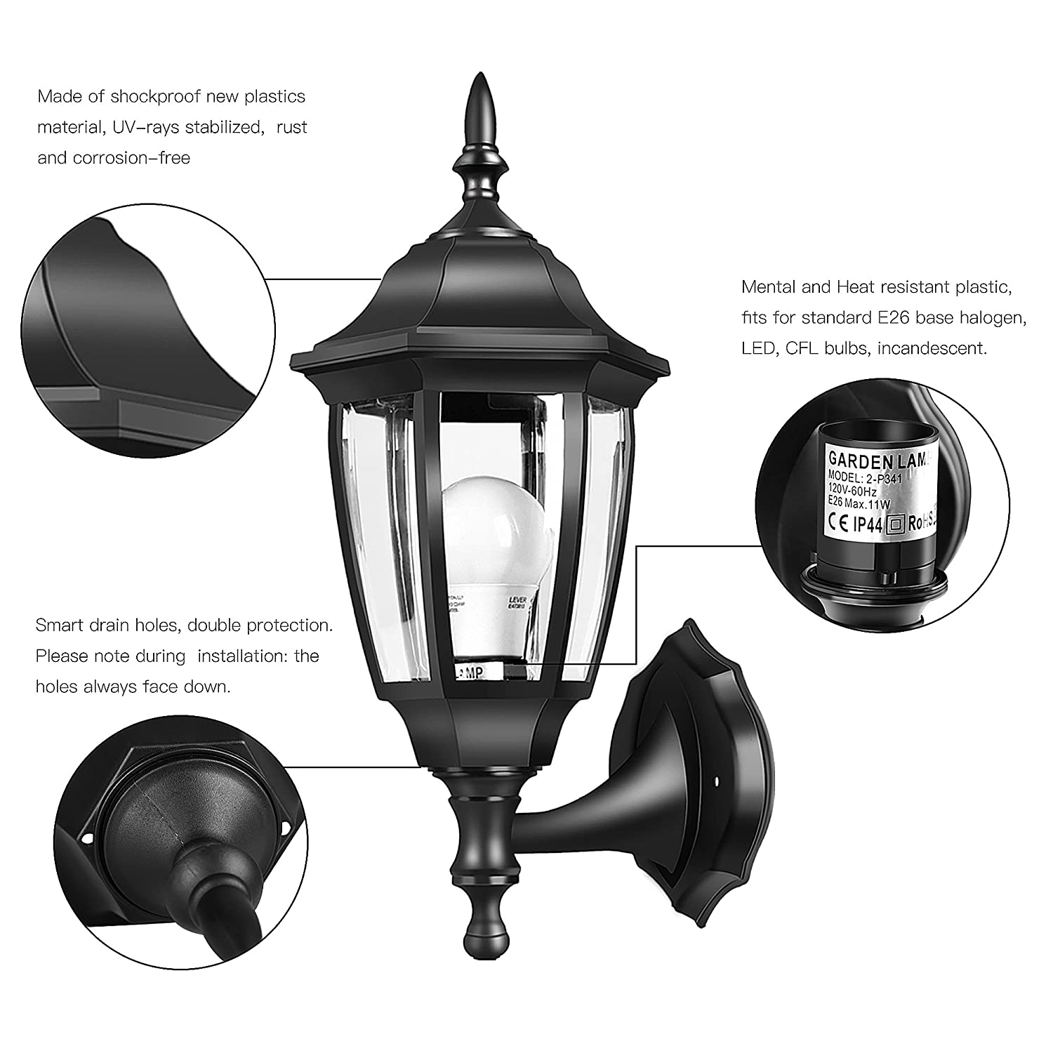 EMART Outdoor Porch Light LED Exterior Wall Light Fixtures, Special ...