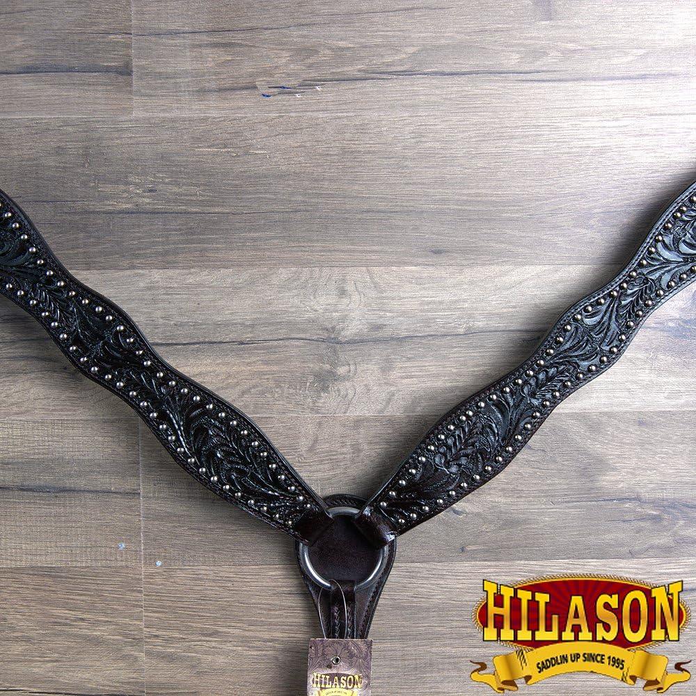 Hilason WesternレザーHorse Bridle Headstall Breast襟ブラックAcornツール  標準