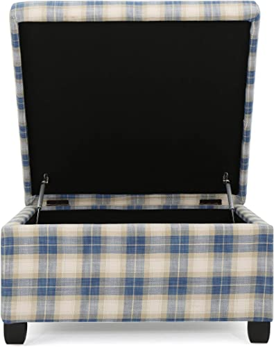 Christopher Knight Home Matteo Fabric Storage Ottoman, Blue Plaid