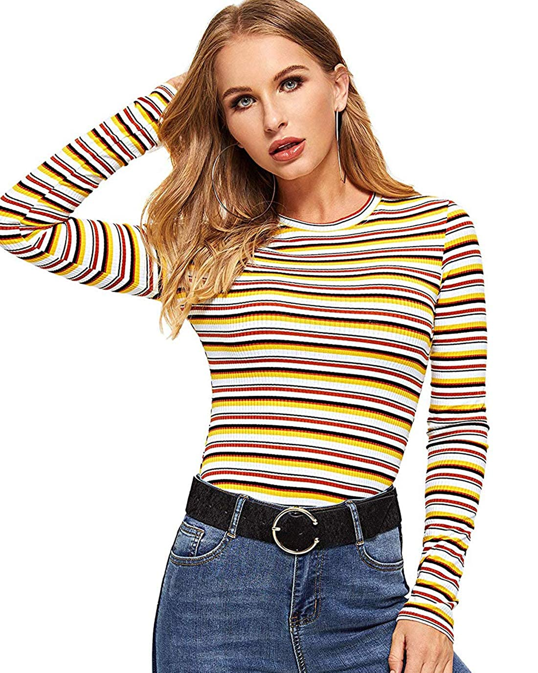 Amulti2 Milumia Women's Casual Striped Ribbed Tee Knit Crop Top