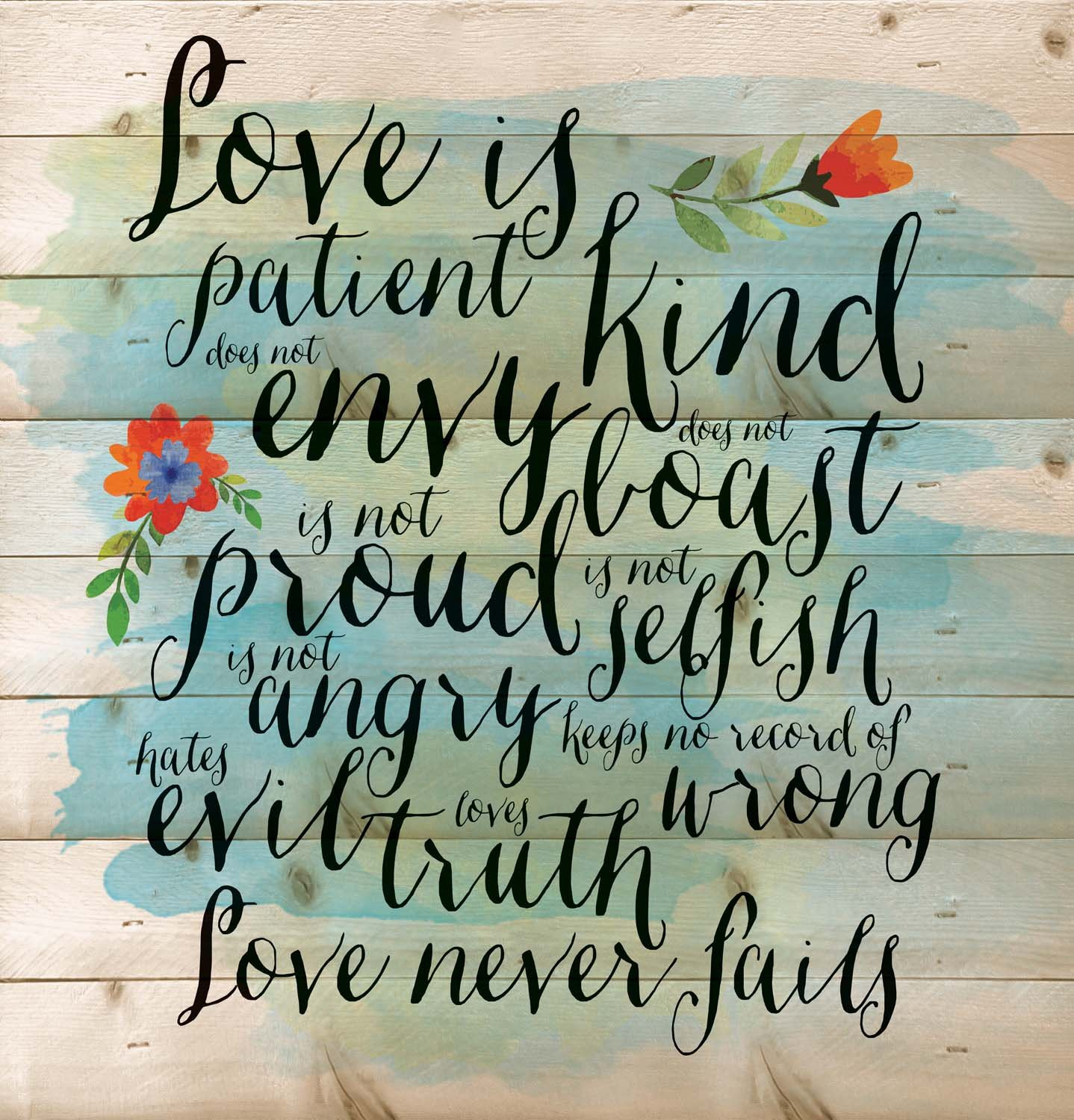 Love is Patient Love is Kind Love Never Fails 12 x 12 inch Pine Wood Plank Wall Sign Plaque