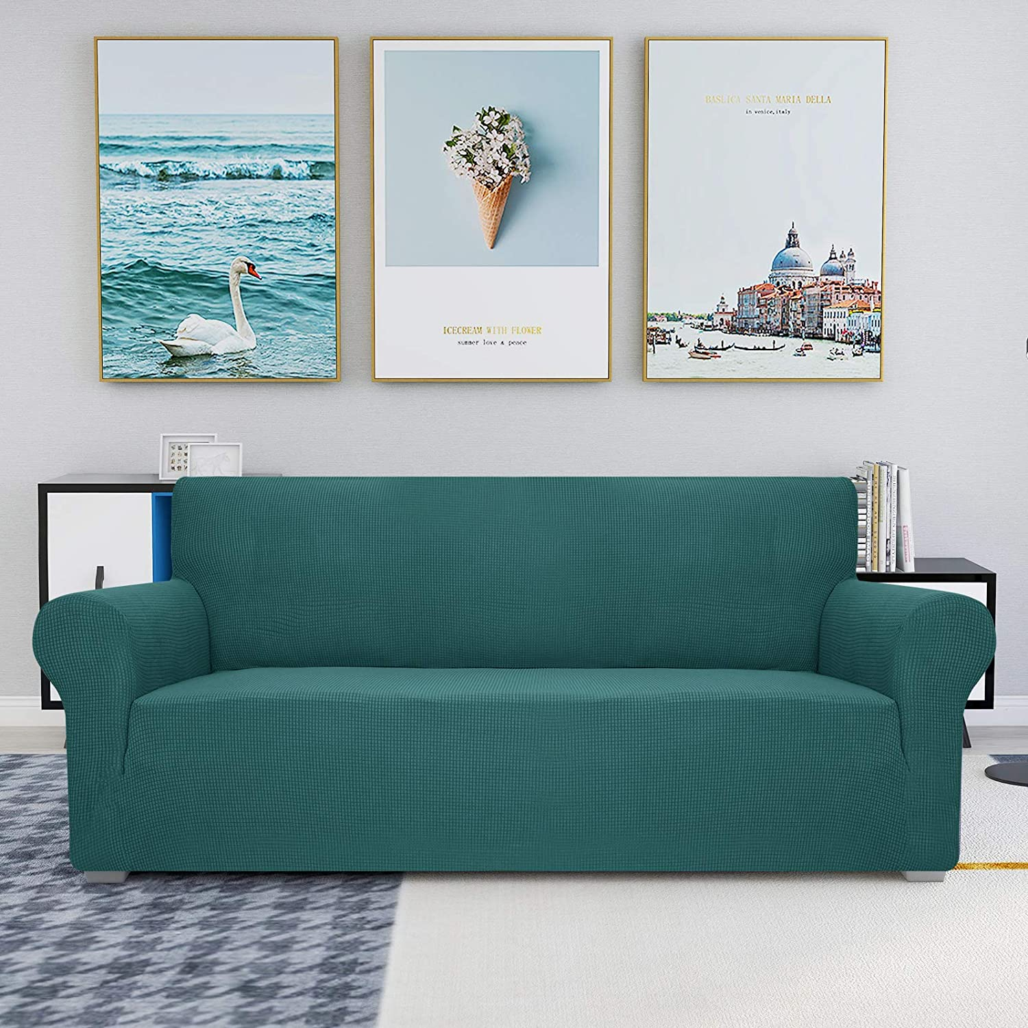 JIVINER High Stretch Couch Covers for 3 Cushion Couch 1-Piece Jacquard Elastic Sofa Slipcovers Anti Slip Sofa Cover with Elastic Bottom Furniture Protector for Kids Pets (Sofa, Blakish Green)