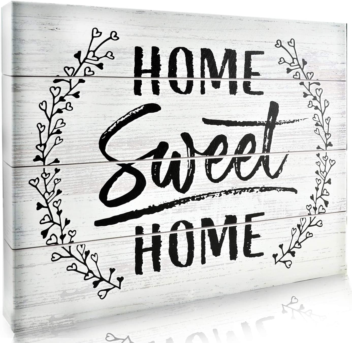 Bigtime Signs Home Sweet Home Sign - Wrapped Canvas Wall Art Decor for Living Room, Bedroom, Kitchen - Rustic Wood and Quote Print - Easy to Hang - 1.5-inch Thick, 16 x 12 Inches