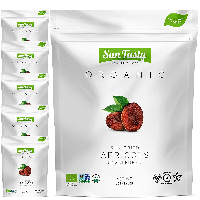 Sun Tasty Organic Sun-Dried Apricots 2.25 lbs. Vegan, Gluten-Free, USDA Certified Organic, Non-GMO, No Added Sugar, No Sulfur, No Preservatives, Kosher (36 oz)