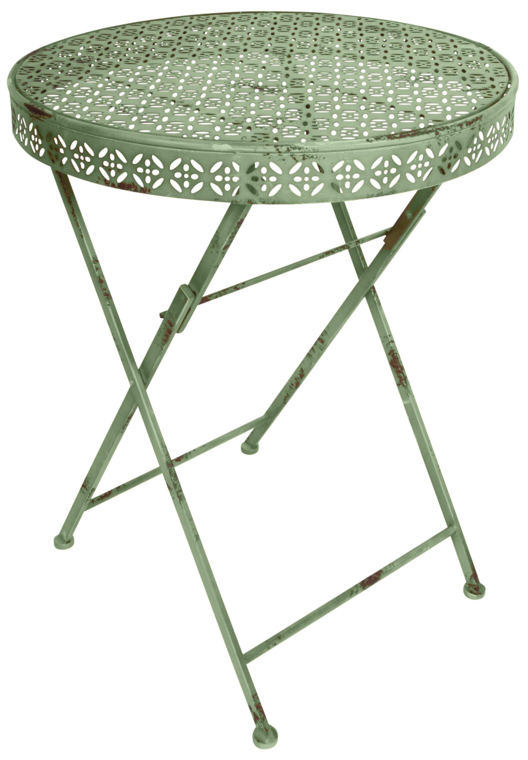 "Esschert Design Industrial Heritage Round Bistro Table - Table 23"" x 23"" x 30"" Part of the Esschert Design Industrial Heritage Line Distressed Metal - patio-tables, patio-furniture, patio - 817W1uERc6L -"