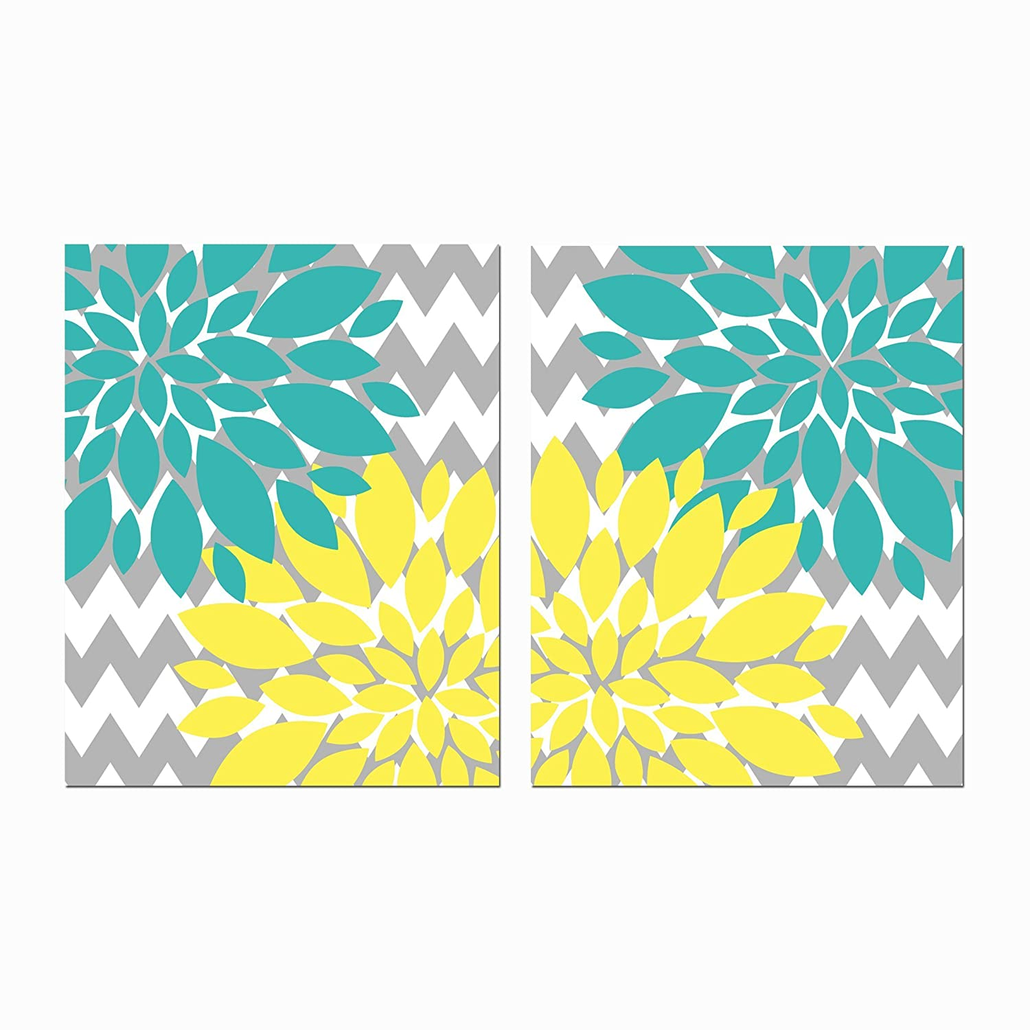 Amazon.com: Yellow and Turquoise with grey Chevron Floral Design ...