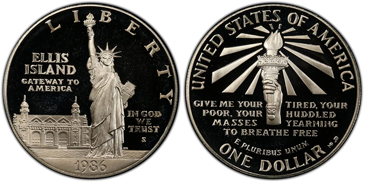 1986 S Mint Statue of Liberty Commemorative UNC Dollar Coin Silver