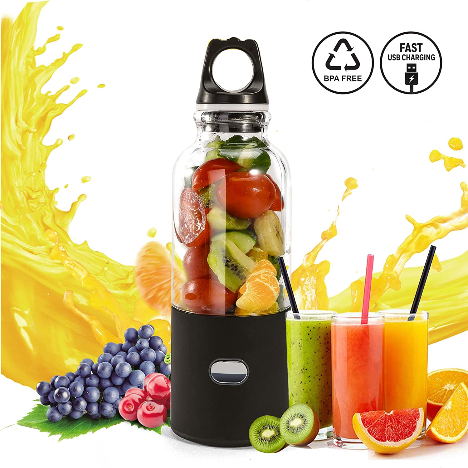 Portable Personal Blender, USB Rechargeable Small Blender Juicer Cup for Travel Outdoor Activity, Fruit Shakes and Smoothies Mixer with 6 blades 500ml 4000mAh