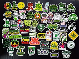 Weed Stickers for Adults - Trippy Stickers Pack of 52 PCS Marijuana Stickers and Decals - Vinyl Waterproof Drug Stickers for Laptop Phone Bike Bumper