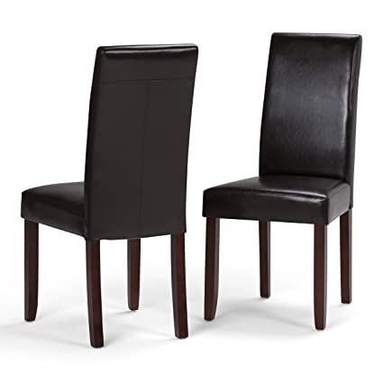 Simpli Home Acadian Parson Dining Chair, Tanners Brown (Set Of 2)
