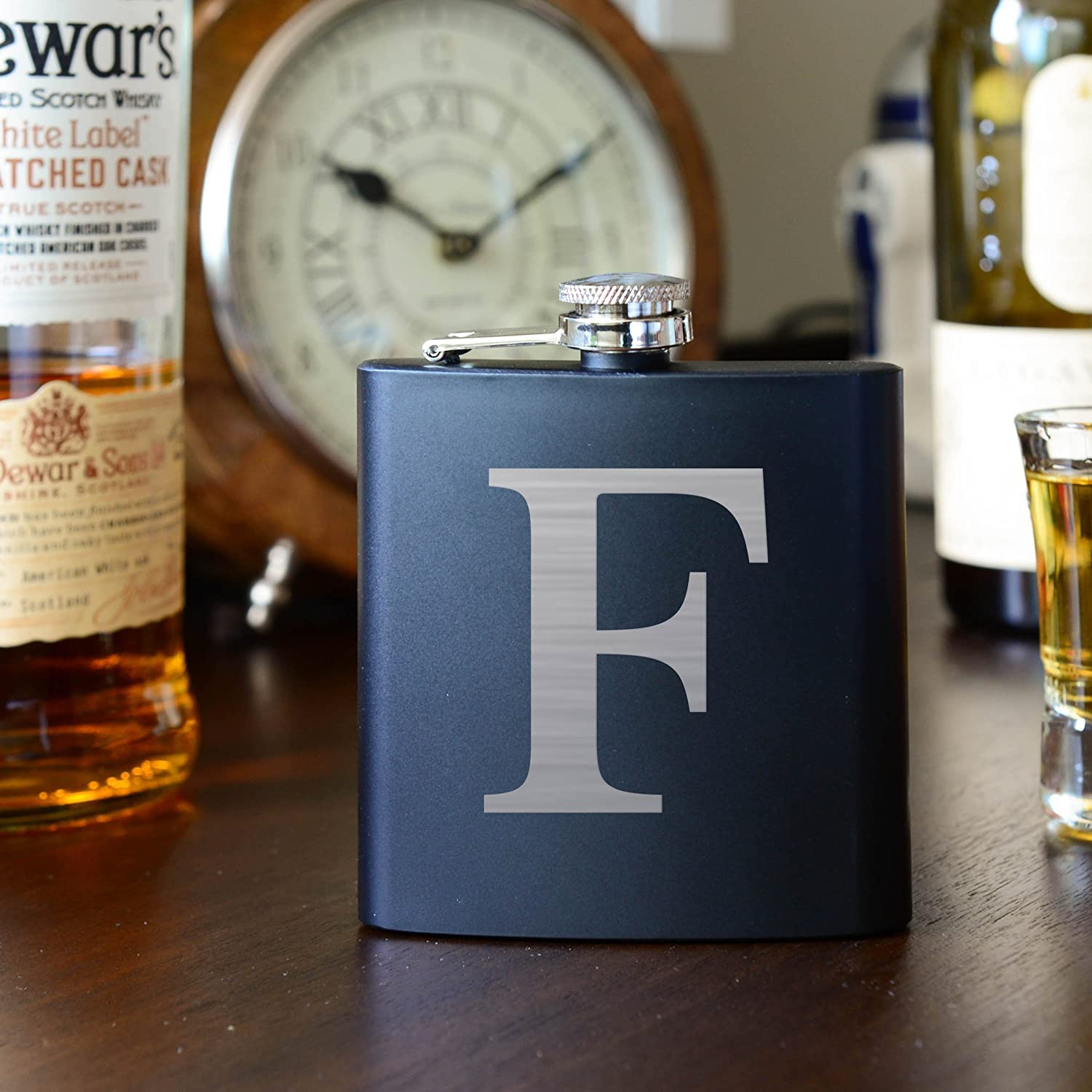Personalized Initial Flask - 6oz Stainless Steel Flask Engraved - Groomsman Flask, Birthday Flask, Best Man Gift Custom Engraved Flask, Groomsmen Wedding Party Gift by Factory eNova