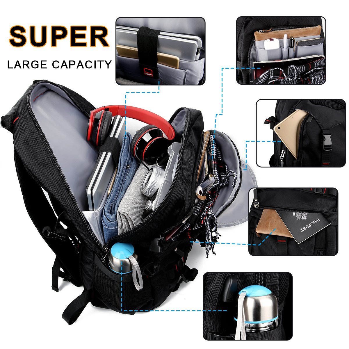 Fashion Laptop Backpack Contains Multi-Function Pockets, Tocode Durable Travel Backpack with USB Charging Port Stylish Anti-Theft School Bag Fits 17.3 Inch Laptop Comfort Pack for Women & Men–Black I by Tocode (Image #4)