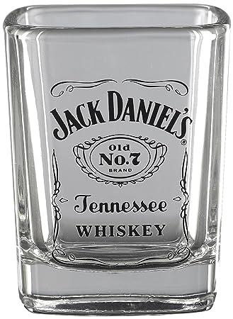 Amazon com jack daniels licensed barware label logo shot glass shot glasses