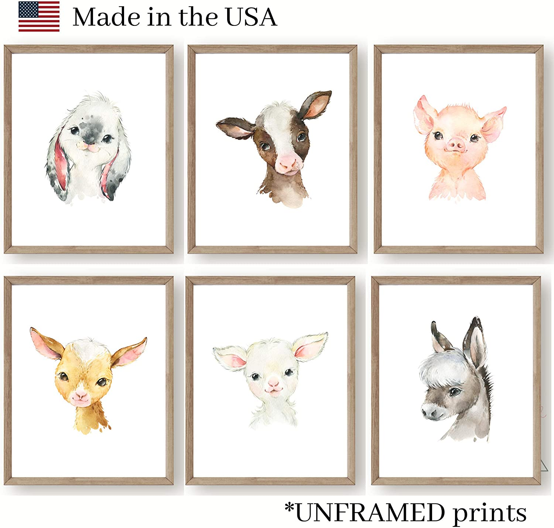 Farm Baby Animals Nursery Wall Art Decor - Set of 6 UNFRAMED Prints - 8x10 Posters - Bunny Cow Pig Lamb Donkey Goat