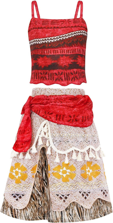 Jurebecia Abito Moana /Vestito da Ragazza Abiti da Principessa Set di Avventura con Spalline e Collana Stampata Festa di Compleanno di Halloween