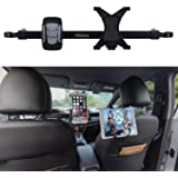 Car ipad/phone holder, Wietus Car Backseat Headrest Extension Mount Holder of dual use for phone and tablet, 360 Degrees Rotation, Compatible for Smart phones within 3.5-6.0 inch and Tablets or ipad between 7-10 inch