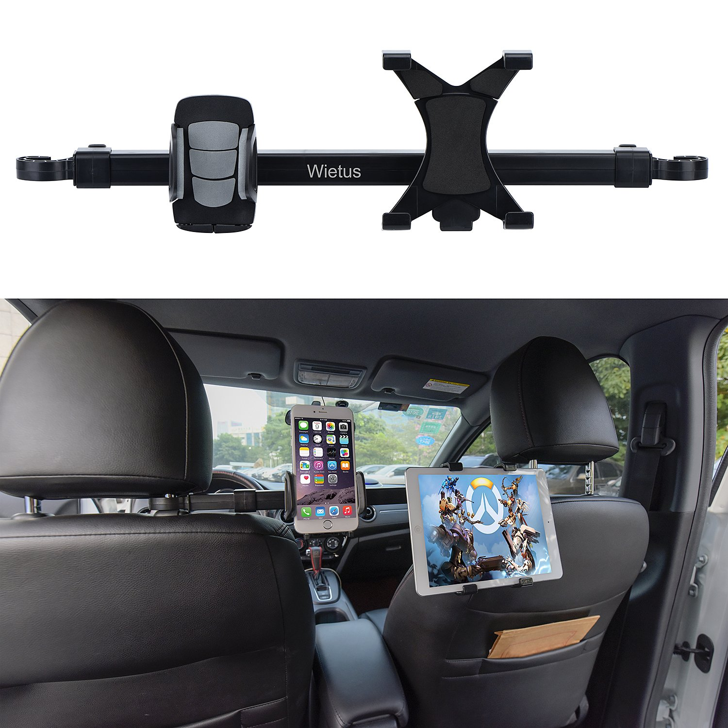 Car iPad/Phone Holder, Wietus Adjustable Rotating Backseat Headrest Extension Seat Mount Holders Dual Use for Phone 4''- 5.8'', Tablet or iPad 7''-10.5'' (US HD-52) by Wietus