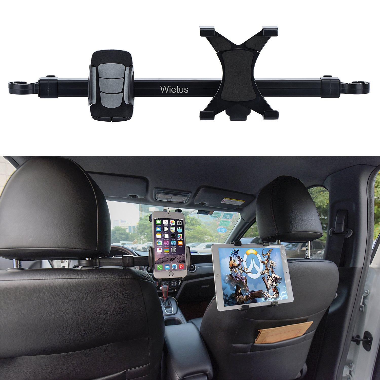 Car iPad/Phone Holder, Wietus Adjustable Rotating Backseat Headrest Extension Seat Mount Holders Dual Use for Phone 4''- 5.8'', Tablet or iPad 7''-10.5'' (US HD-52)