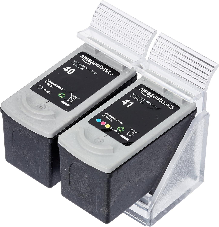 AmazonBasics - Cartucho de tinta regenerado, Canon PG-40 y CL-41, negro y tricolor: Amazon.es: Oficina y papelería