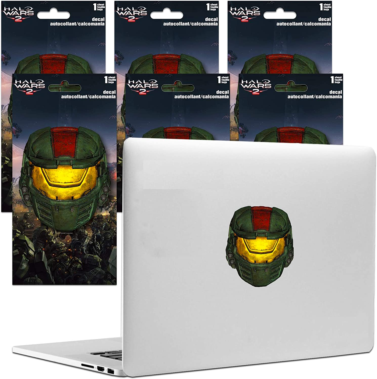 Halo Decals Party Favors Bundle Set ~ 6 Large Decal Stickers for Car, Laptop, Walls (Halo Wars Video Game Party Favors)
