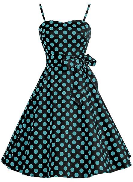 Bbonlinedress Vestido de cóctel de Estilo Retro Rockabilly Lunares Mujer 50s Black Blue BDot XS