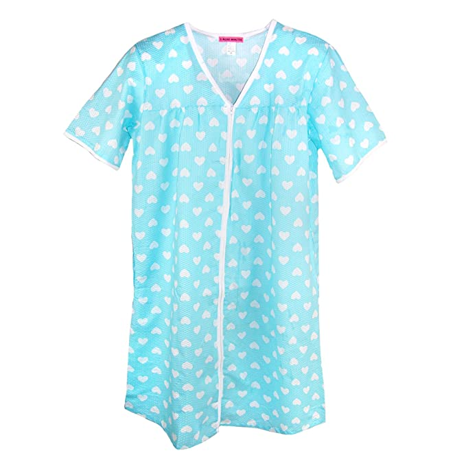 5 More Minutes Women\'s Plus Size Short Sleeve Zip Front Duster, 1X ...
