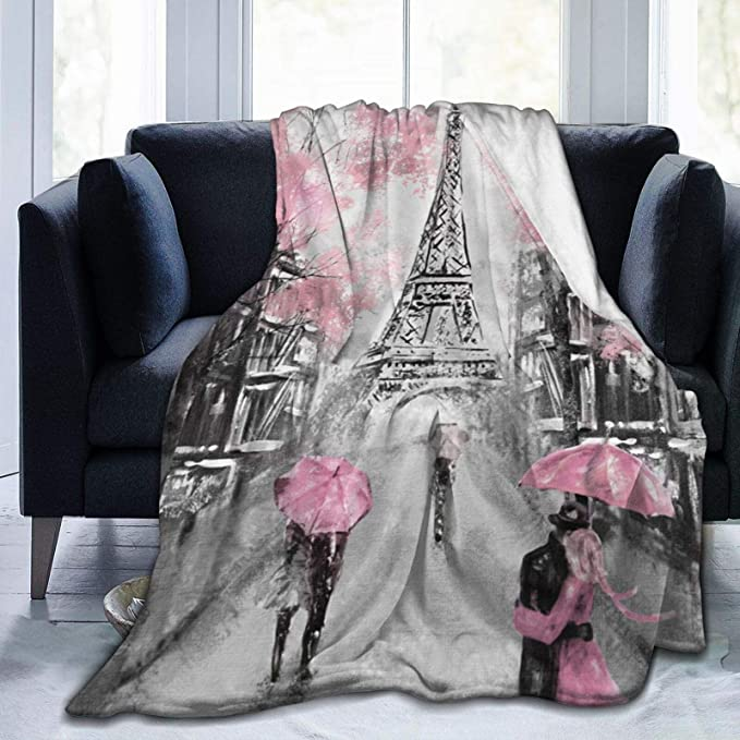 Oil Painting Eiffel Tower Throw Blanket