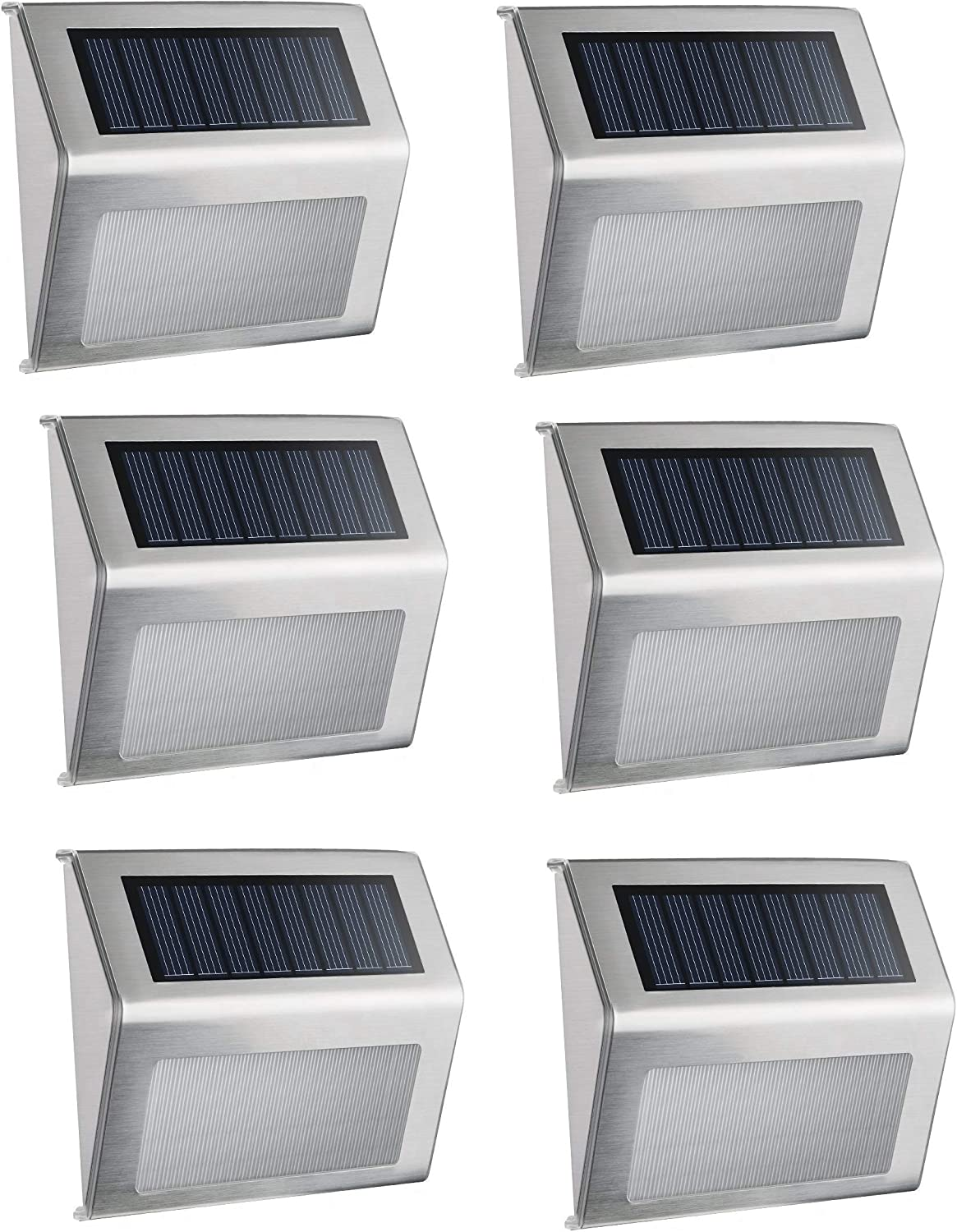 Solar Floor Wall Lights, (6 Pack) Elelink Waterproof Stainless Steel LED Solar Powered Lamp Outdoor Lighting for Step Path Patio Deck Garden Fence Post