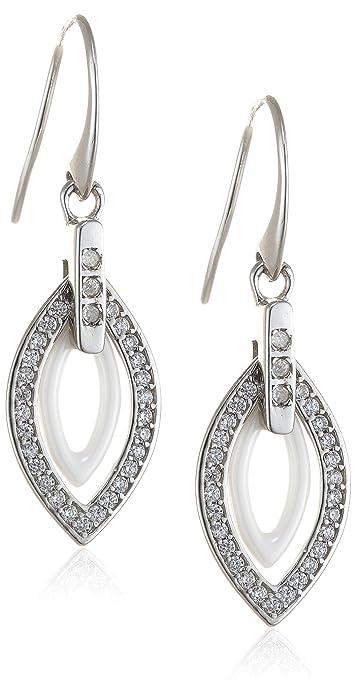 13a73d2155ec Aretes para mujer de Stella Maris - En forma de hoja - Plata Sterling 925 y  cerámica blanca Premium - Circonia cúbica y Diamante - 4 cm - STM15J034  ...