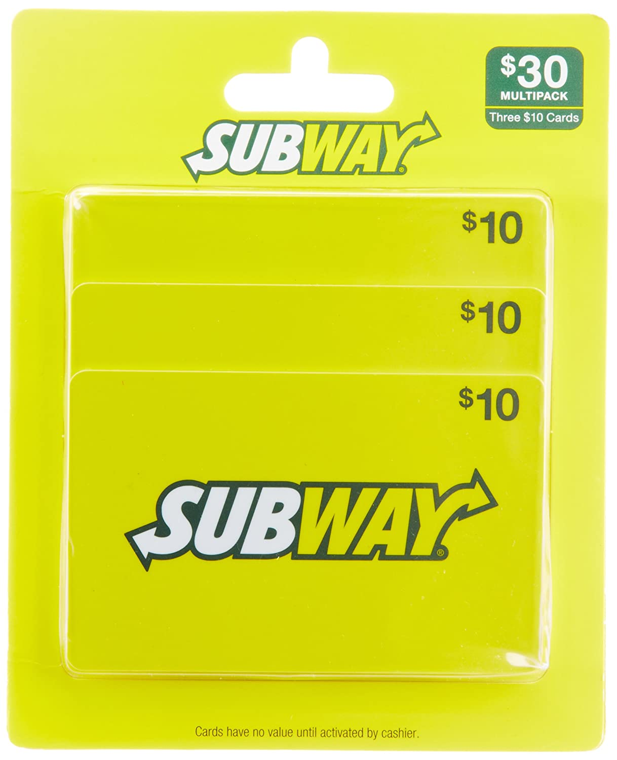 amazon com subway gift cards multipack of 3 10 gift cards