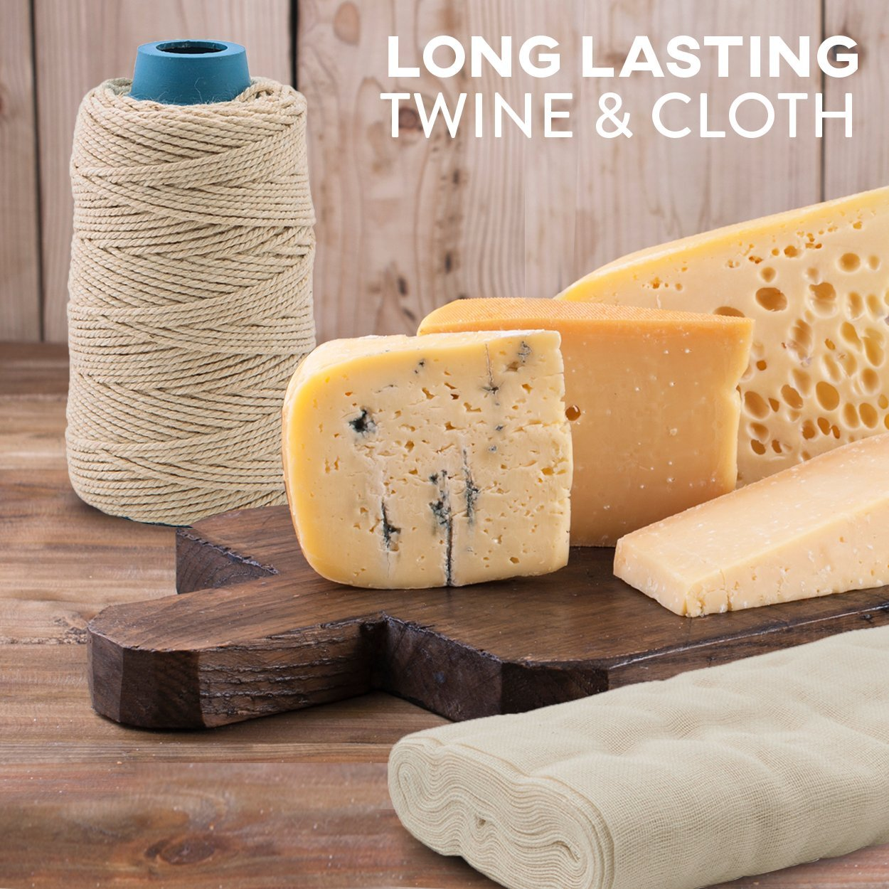 Cheesecloth and Cooking Twine - by Kitchen Gizmo, Grade 50 100% Unbleached Cotton (5 Yards/45 Sq. Feet) Cheese Cloth for Straining with 220 Ft Butchers Twine by Kitchen Gizmo (Image #3)
