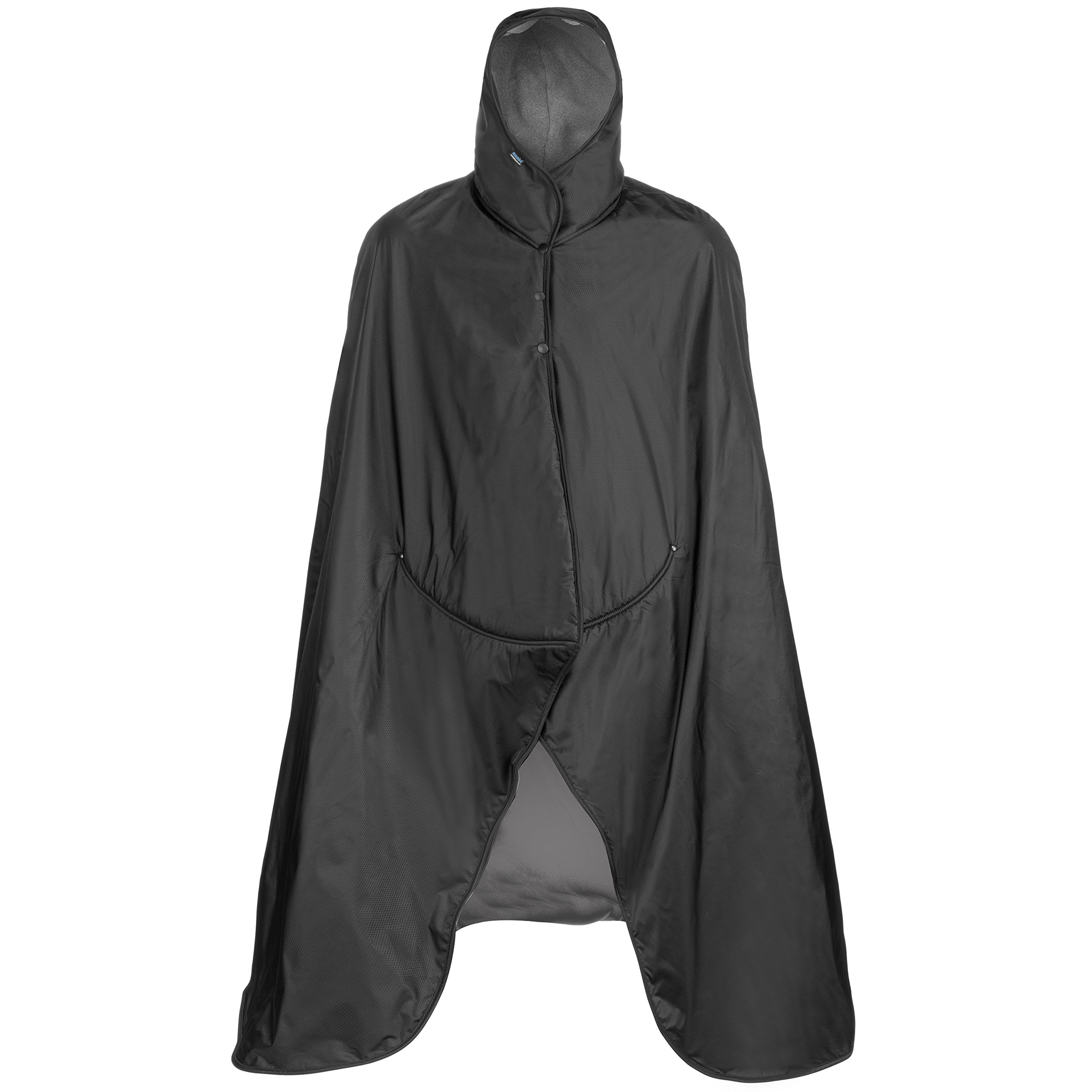 Mambe Extreme Weather 100% Waterproof/Windproof Hooded Blanket with Premium Stuff Sack (Size: Large, Charcoal) Made in The USA by Mambe