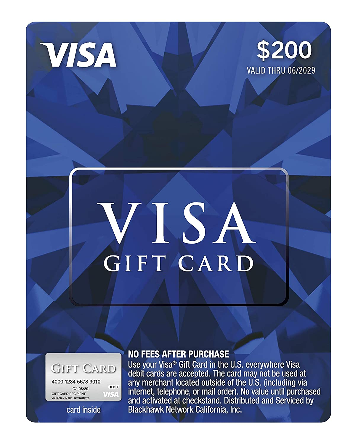 Amazon Com 200 Visa Gift Card Plus 6 95 Purchase Fee Gift Cards